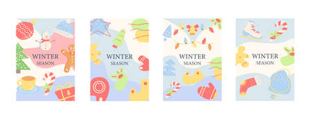 Winter season abstract poster template set. Commercial flyer design with flat illustration. Vector cartoon promo card with organic shapes. Wintertime advertising invitation collection