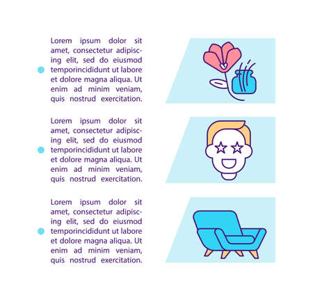 Customer satisfaction with purchased goods concept icon with text. Smart shopping. Commerce, retail. PPT page vector template. Brochure, magazine, booklet design element with linear illustrations