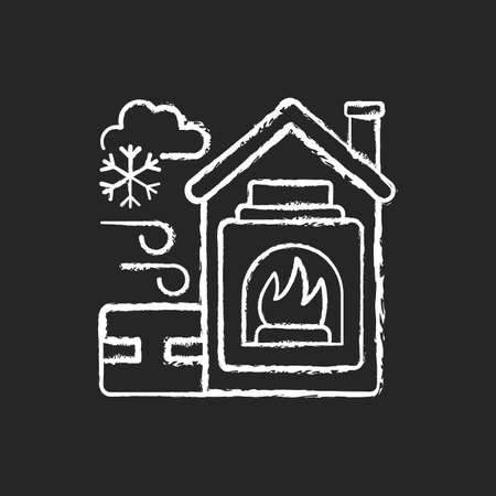 Warming center chalk white icon on black background. Short term emergency shelter that operates when temperatures becomig low. Help people to get warm. Isolated vector chalkboard illustration