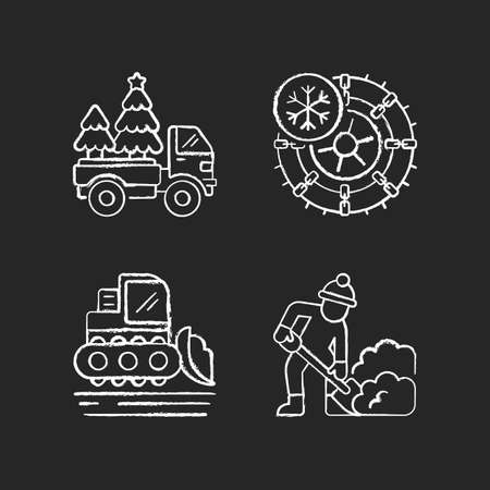 Winter holidays service chalk white icons set on black background. Christmas tree delivery to your home. Studded tires and chains for your car. Isolated vector chalkboard illustrations Иллюстрация