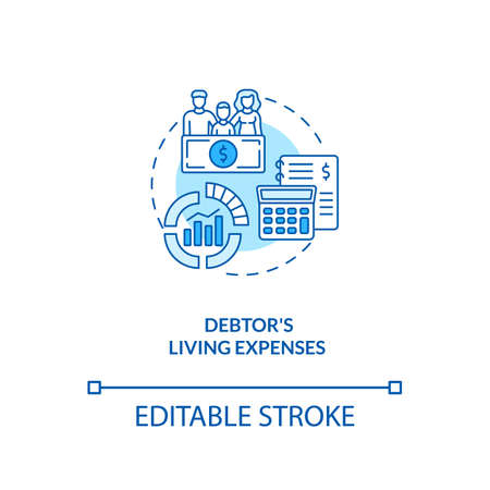 Debtor living expenses blue concept icon. Financial crisis. Calculate income and expenditure. Bankruptcy idea thin line illustration. Vector isolated outline RGB color drawing. Editable stroke