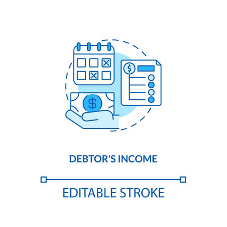 Debtor income blue concept icon. Monthly credit repayment. Borrower budget. Debtor accounting. Bankruptcy idea thin line illustration. Vector isolated outline RGB color drawing. Editable stroke