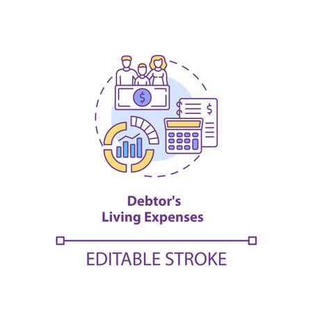Debtor living expenses concept icon. Financial crisis. Calculate income and expenditure. Bankruptcy idea thin line illustration. Vector isolated outline RGB color drawing. Editable stroke