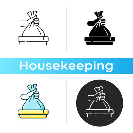Taking out trash icon. Linear black and RGB color styles. Waste management, domestic chores. Housekeeping duties, garbage utilization. Throwing away plastic bag. Isolated vector illustrations Stock Illustratie