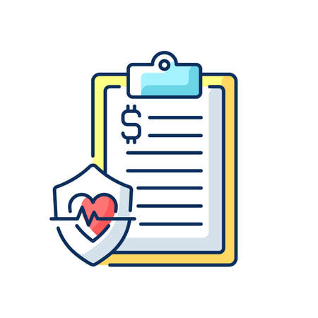 Insurance data RGB color icon. Health insurance coverage. Paying for medical, surgical expenses, prescription drug. Protection from unexpected, high medical costs. Isolated vector illustration