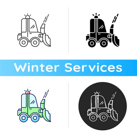 Snow blowing icon. Using machine for removing snow from area around your house. Cleaning service in winter. Linear black and RGB color styles. Isolated vector illustrations
