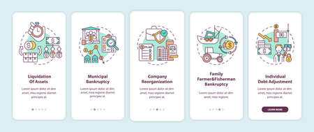 Business bankruptcy onboarding mobile app page screen with concepts. Liquidation of asset. Corporate debt walkthrough 5 steps graphic instructions. UI vector template with RGB color illustrations Ilustração Vetorial