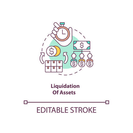 Liquidation of assets concept icon. Convert into cash. Sell on market. Business insolvency. Bankruptcy procedure idea thin line illustration. Vector isolated outline RGB color drawing. Editable stroke Ilustración de vector