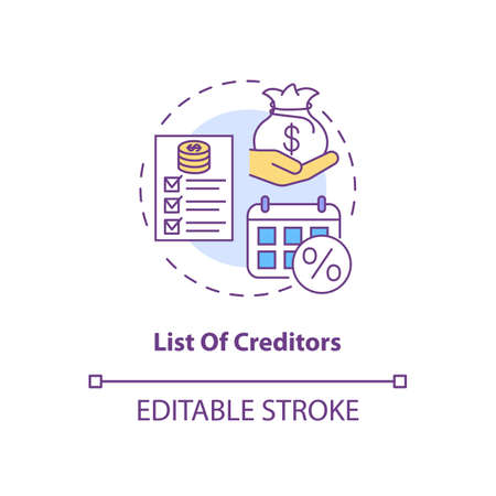 List of creditors concept icon. Financial report. Debtor document with information. Bankruptcy idea thin line illustration. Vector isolated outline RGB color drawing. Editable stroke