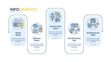 Effective clothes buying vector infographic template. Secondhand, seasonal sale presentation design elements. Data visualization with 5 steps. Process timeline chart. Workflow layout with linear icons