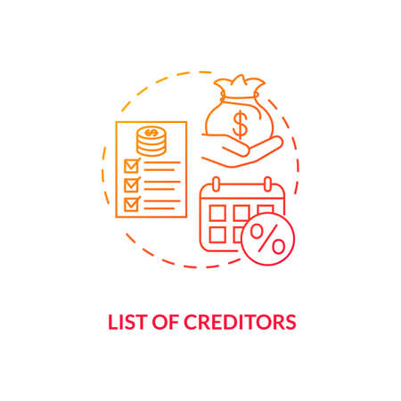 List of creditors red gradient concept icon. Financial report. Debtor document with information. Bankruptcy procedure idea thin line illustration. Vector isolated outline RGB color drawing