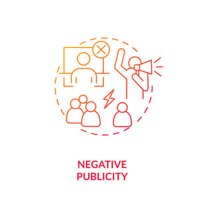 Negative publicity red gradient concept icon. Bad reputation. Social relations. Conflict with community. Bankruptcy idea thin line illustration. Vector isolated outline RGB color drawing