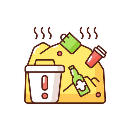 Solid waste RGB color icon. Waste type consisting of everyday items that are discarded by people. Damaging ecosystem. Isolated vector illustration Vektorgrafik