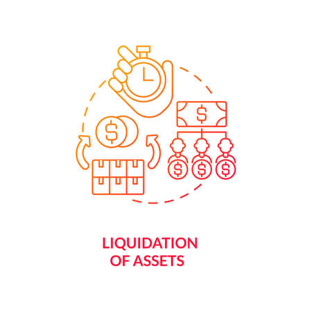 Liquidation of assets red gradient concept icon. Convert into cash. Sell on market. Business insolvency. Bankruptcy procedure idea thin line illustration. Vector isolated outline RGB color drawing
