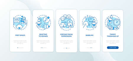 Baby early sensory development blue onboarding mobile app page screen with concepts. Toddler ability. Infancy walkthrough 5 steps graphic instructions. UI vector template with RGB color illustrations
