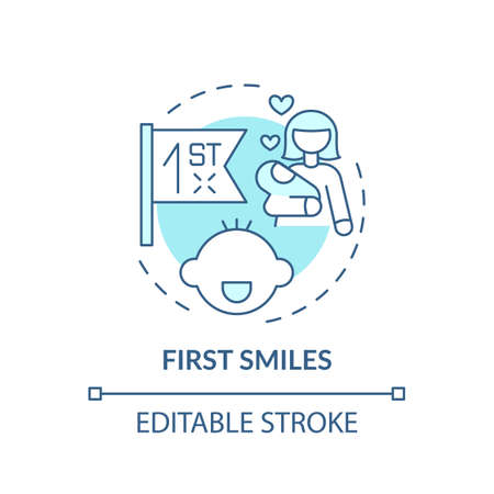 First smiles turquoise concept icon. Baby facial expression. Newborn emotion. Early childhood development idea thin line illustration. Vector isolated outline RGB color drawing. Editable stroke