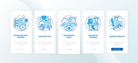 Early child development blue onboarding mobile app page screen with concepts. Baby abilities and skills walkthrough 5 steps graphic instructions. UI vector template with RGB color illustrations