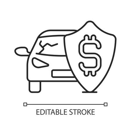 Insurance fee linear icon. Protection from financial loss. Management used to hedge. Thin line customizable illustration. Contour symbol. Vector isolated outline drawing. Editable stroke