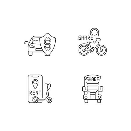 Car sharing and rental service linear icons set. Insurance fee protection from financial loss. Customizable thin line contour symbols. Isolated vector outline illustrations. Editable stroke
