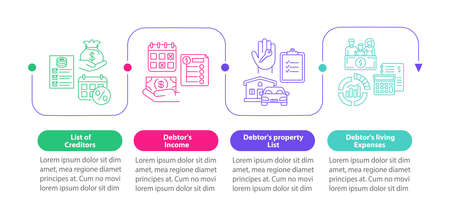 Creditor and debtor documentation vector infographic template. Finance presentation design elements. Data visualization with 4 steps. Process timeline chart. Workflow layout with linear icons