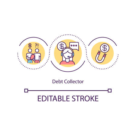 Debt collector concept icon. Collecting overdue debts idea thin line illustration. Recovering money owed on delinquent accounts. Vector isolated outline RGB color drawing. Editable stroke 벡터 (일러스트)