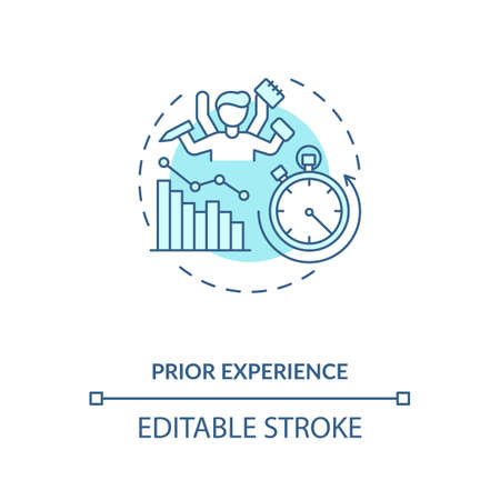 Prior experience concept icon. Human factor in ergonomics idea thin line illustration. Performance optimization. Responsibilities and duties. Vector isolated outline RGB color drawing. Editable stroke
