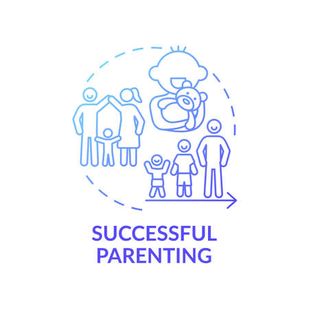 Successful parenting blue gradient concept icon. Parental responsibilities. Happy kid growing up. Early childhood development idea thin line illustration. Vector isolated outline RGB color drawing
