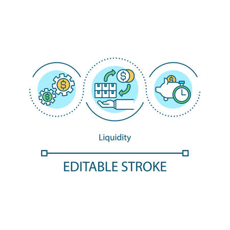 Liquidity concept icon. Cash equivalents idea thin line illustration. Assets converting into ready cash. Marketable securities. Vector isolated outline RGB color drawing. Editable stroke