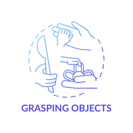 Grasping objects blue gradient concept icon. Baby grab object. Developmental milestone. Early childhood development idea thin line illustration. Vector isolated outline RGB color drawing