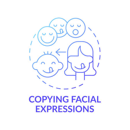 Copying facial expressions dark blue gradient concept icon. Baby mimicking emotion. Early childhood development idea thin line illustration. Vector isolated outline RGB color drawing