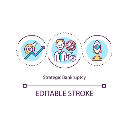 Strategic bankruptcy concept icon. Manipulative debt reduction idea thin line illustration. Avoiding heavy legal judgments. Vector isolated outline RGB color drawing. Editable stroke