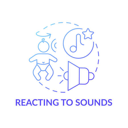 Reacting to sounds blue gradient concept icon. Baby hearing noise and parent voice. Early childhood development idea thin line illustration. Vector isolated outline RGB color drawing