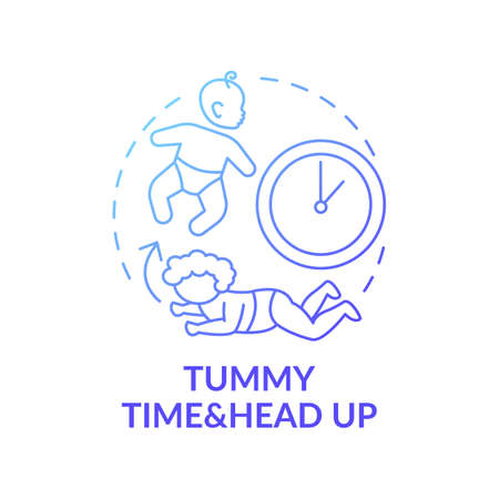 Tummy time and head up blue gradient concept icon. Baby crawling. Newborn laying. Early childhood development idea thin line illustration. Vector isolated outline RGB color drawing