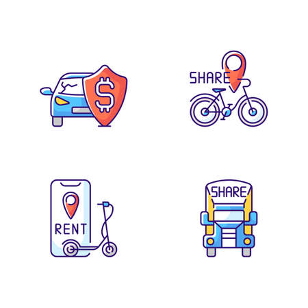 Car sharing and rental service RGB color icons set. Insurance fee protection from financial loss. Bicycle sharing system. Isolated vector illustrations