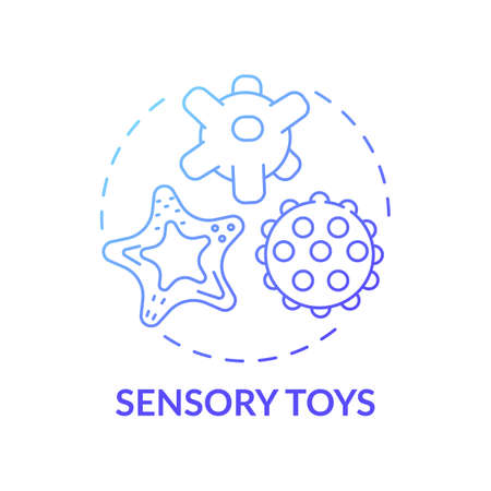Sensory toys blue gradient concept icon. Montessori method. Baby with special needs. Early childhood development idea thin line illustration. Vector isolated outline RGB color drawing