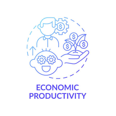 Economic productivity blue gradient concept icon. Future finance skill. Teach child, educate kid. Early childhood development idea thin line illustration. Vector isolated outline RGB color drawing