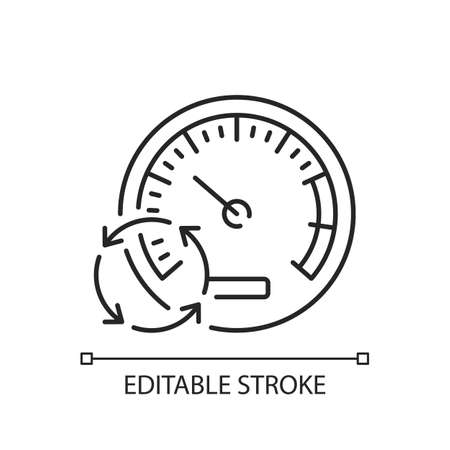 Pressure gauge linear icon. Measuring tool. Water, air and blood pressure. Altimeter, barometer. Thin line customizable illustration. Contour symbol. Vector isolated outline drawing. Editable stroke Vecteurs