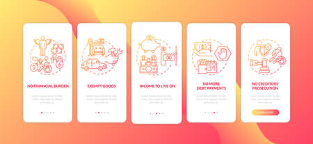 Debt free benefit red onboarding mobile app page screen with concepts. Family budget. No financial burden walkthrough 5 steps graphic instructions. UI vector template with RGB color illustrations
