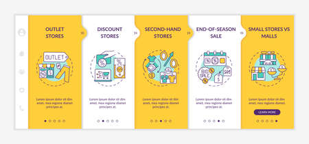 Smart clothes shopping tips onboarding vector template. Outlet stores, second-hand shops, malls. Responsive mobile website with icons. Webpage walkthrough step screens. RGB color concept Stockfoto - 161023298