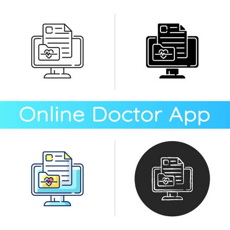 Online medical history icon. Virtual storage for health records. Medical chart. Information about allergies, surgeries. Linear black and RGB color styles. Isolated vector illustrations