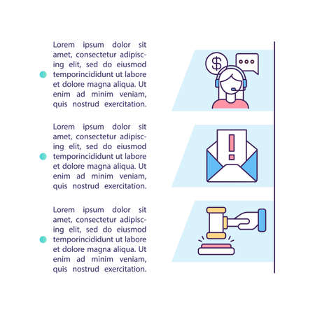 Debt collectors rights concept icon with text. Threatening by legal action. Calls, messages and letters. PPT page vector template. Brochure, magazine, booklet design element with linear illustrations