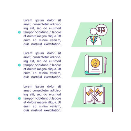 Filing for bankruptcy concept icon with text. Discharging debt. Protection under bankruptcy laws. PPT page vector template. Brochure, magazine, booklet design element with linear illustrations