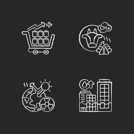 Global warming chalk white icons set on black background. Farming livestock damaging earth atmosphere. Radiative forcing income. Rising seas levels. Isolated vector chalkboard illustrations