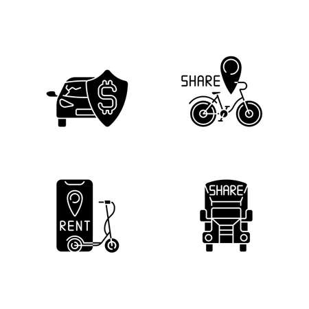 Car sharing and rental service black glyph icons set on white space. Insurance fee protection from financial loss. Bicycle sharing system. Silhouette symbols. Vector isolated illustration