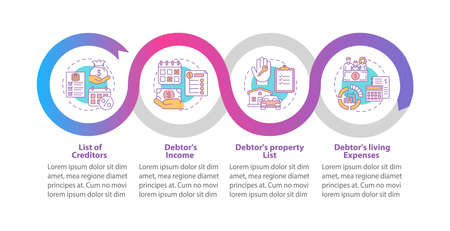 Creditor and debtor contract vector infographic template. Bankruptcy presentation design elements. Data visualization with 4 steps. Process timeline chart. Workflow layout with linear icons