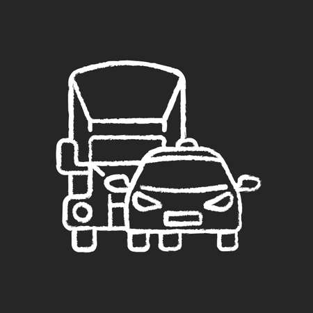 Car park chalk white icon on black background. Groups of motor vehicles owned or leased by someone. Fleet vehicles examples. Special automobiles for service. Isolated vector chalkboard illustration
