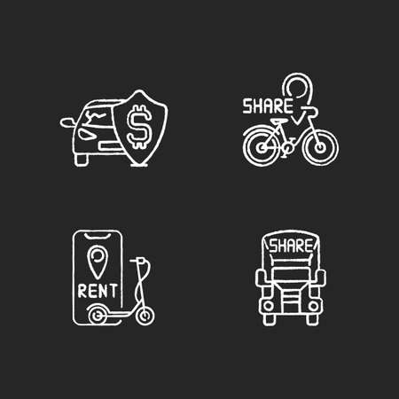 Car sharing and rental service chalk white icons set on black background. Insurance fee protection from financial loss. Bicycle sharing system. Isolated vector chalkboard illustrations