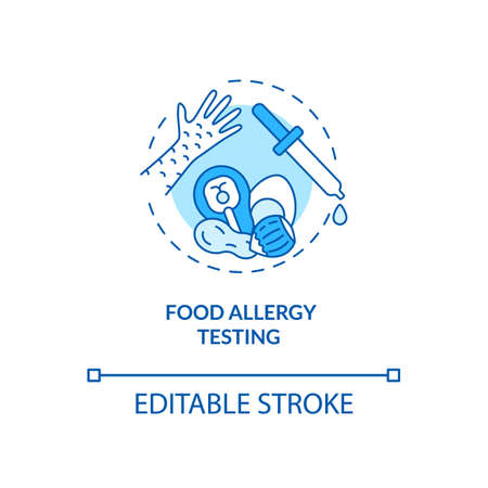 Food allergy testing concept icon. Top testing category idea thin line illustration. Skin and blood tests. Antibody-based foods sensitivity. Vector isolated outline RGB color drawing. Editable stroke