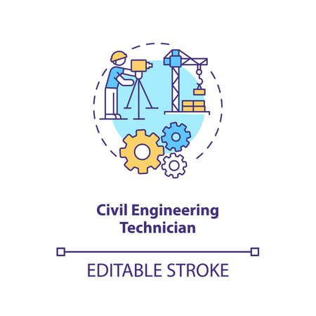 Civil engineering technician concept icon. Plan building. Contractor for management. Construction supervision idea thin line illustration. Vector isolated outline RGB color drawing. Editable stroke