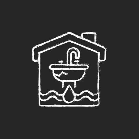 Water damage chalk white icon on black background. Flooding and water leak. Structural, foundational damages. Irreparable destruction to walls and carpet. Isolated vector chalkboard illustration Ilustração